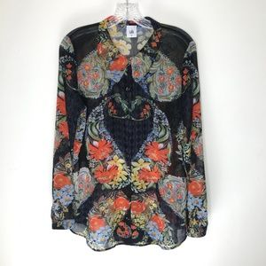 CAbi Amour Semi Sheer Blouse floral button up